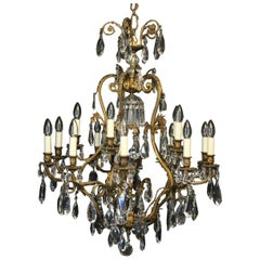 French Gilded Bronze and Crystal Cage Antique Chandelier