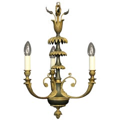 French Gilded Bronze Empire Triple Light Antique Chandelier