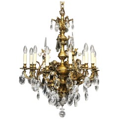 French Gilded Cherub Bronze & Crystal Twelve-Light Antique Chandelier