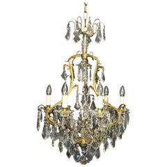 French Gilded & Crystal Seven-Light Birdcage Antique Chandelier