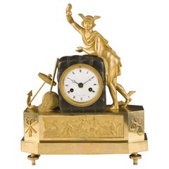 French mantel clock  representing with the figure of Hermes. Circa 1800