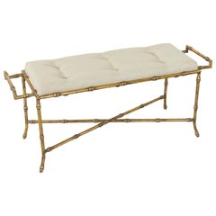French Gilded Iron Banquette or Bench with Linen Upholstered Cushion