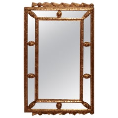 French Gilded Landscape Cushion Mirror