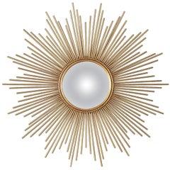 French Gilded Metal Sunburst Mirror, Late 20th Century