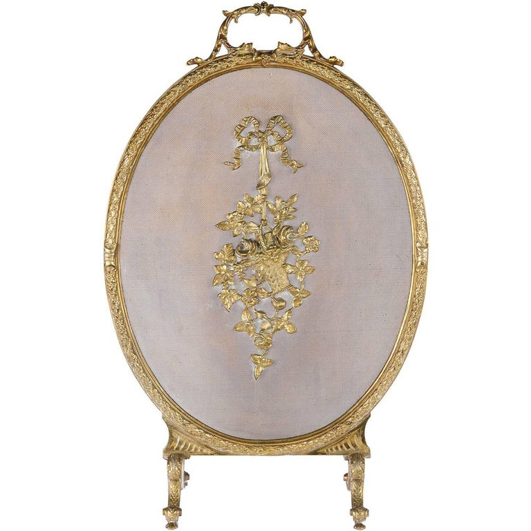 French Gilded Ormolu Fire Screen, Louis XVI Style