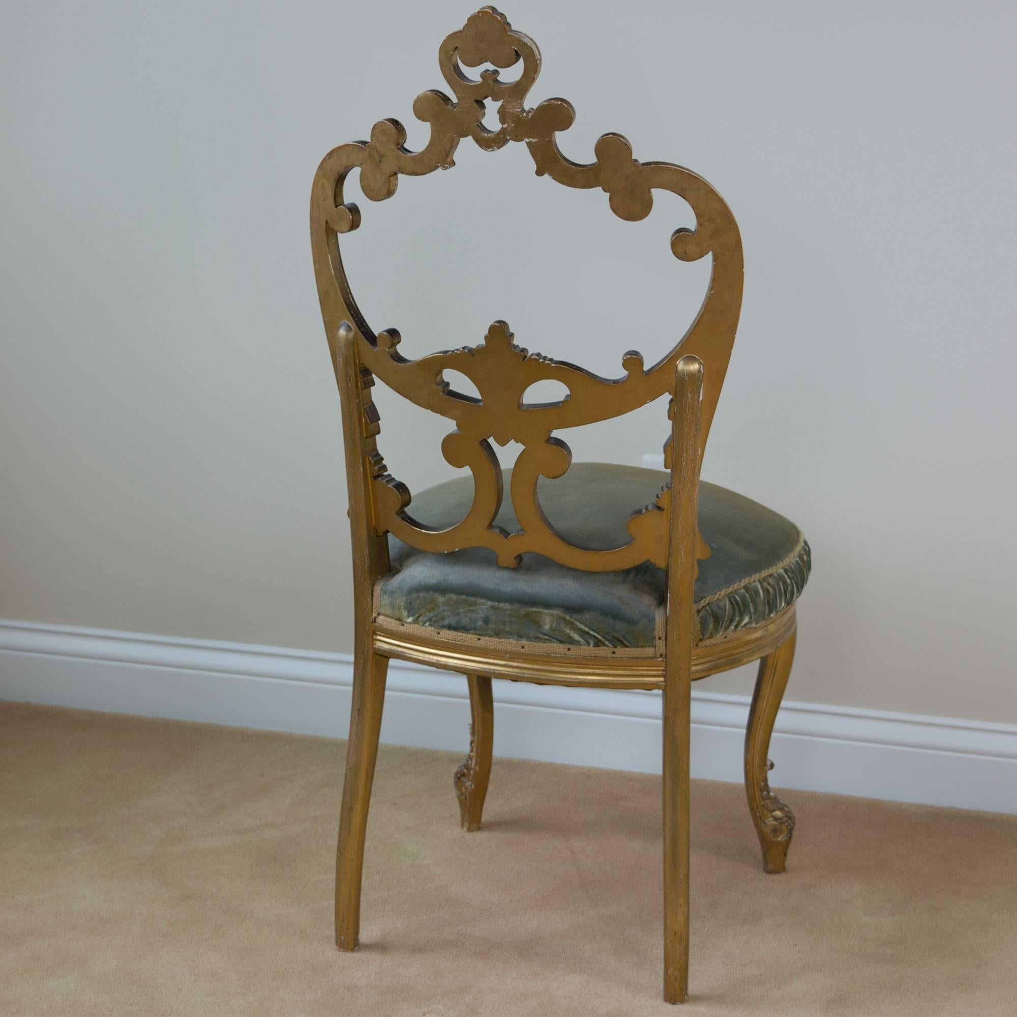 Louis XV French Gilded Salon Chair With Open Carved Back Round Velvet Seat  For Sale