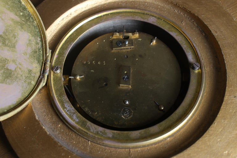French Gilded Sunburst Signed Japy Frères Clock, circa 1920 For Sale 4