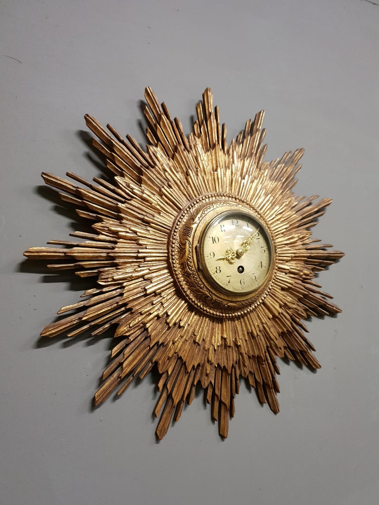 Art Deco French Gilded Sunburst Signed Japy Frères Clock, circa 1920 For Sale