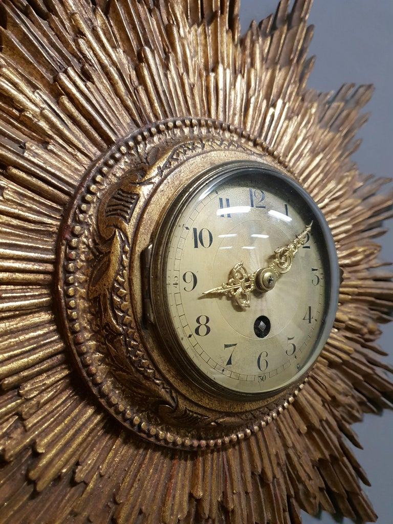 Early 20th Century French Gilded Sunburst Signed Japy Frères Clock, circa 1920 For Sale