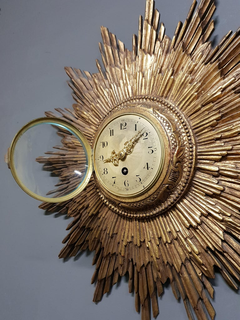 Brass French Gilded Sunburst Signed Japy Frères Clock, circa 1920 For Sale