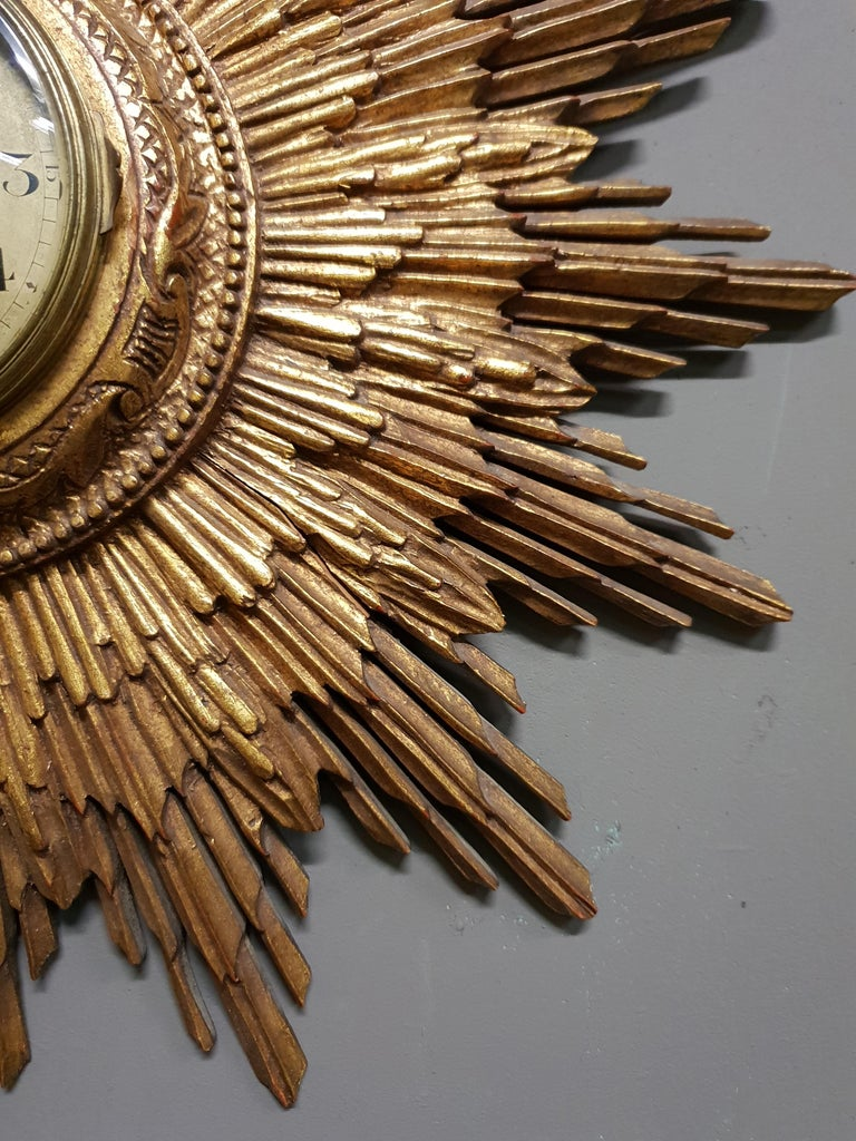 French Gilded Sunburst Signed Japy Frères Clock, circa 1920 For Sale 1