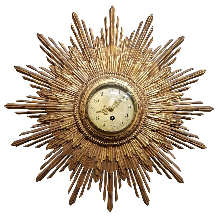 French Gilded Sunburst Signed Japy Frères Clock, circa 1920 For Sale