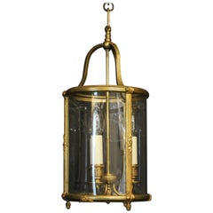 French Gilded Triple Light Convex Antique Lantern