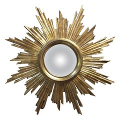 French Gilded Wood Convex Sunburst Mirror