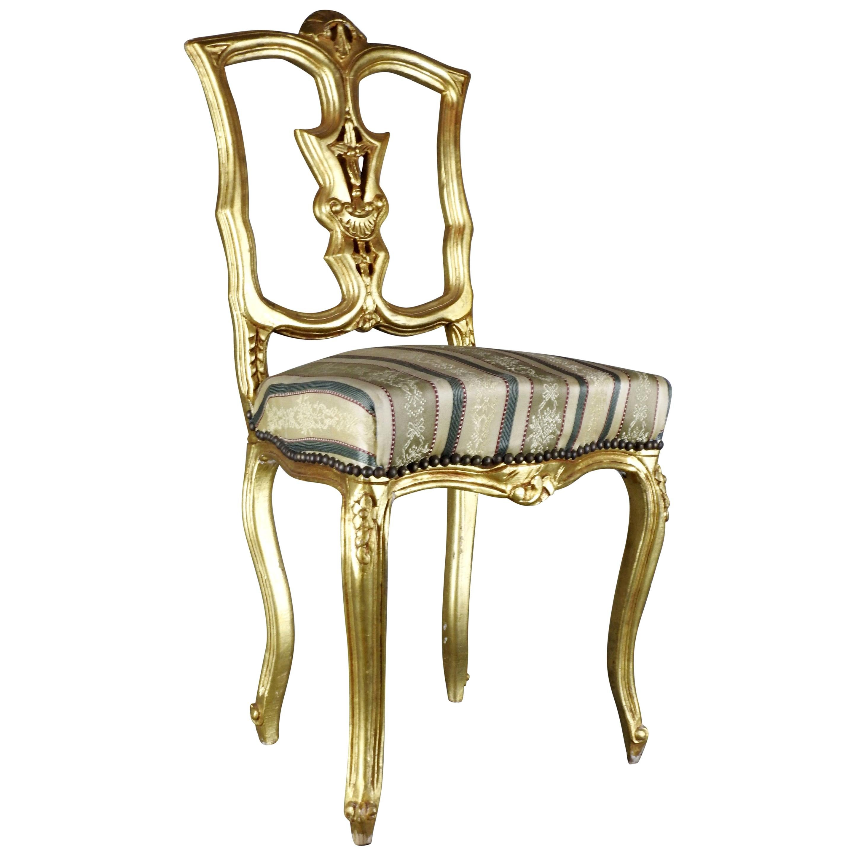 French Gilded Wood Side Chair