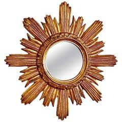 French Gilded Wood Starburst Sunburst Mirror