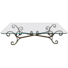 French Gilded Wrought Iron Coffee Table
