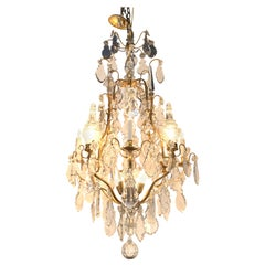French Gilt and Bronze Crystal 11-Light Chandelier