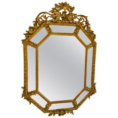 French Gilt and Carved Wood Octagonal Mirror, 19th Century with Bevels