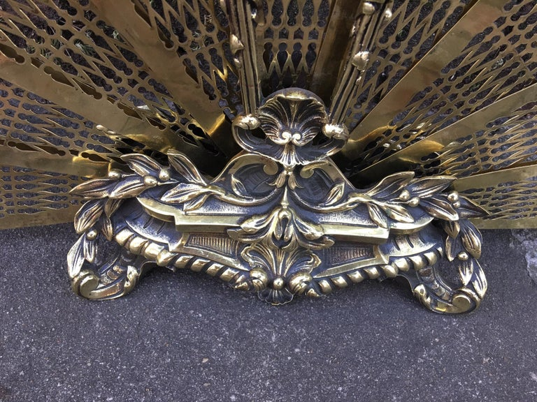 French Gilt Brass Decorative Pierced Folding Fire Place Fan Screen, 19th Century For Sale 2