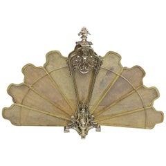 French Gilt Brass Decorative Pierced Foliage Fire Place Fan Screen, Circa 1840