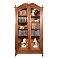 French Gilt Brass Mounted Mahogany Bookcase