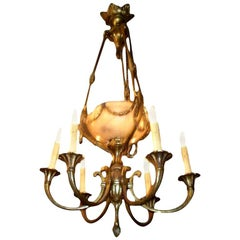 French Gilt Bronze and Alabaster Six-Light Chandelier