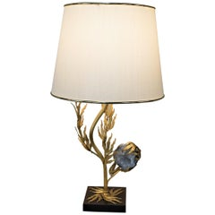 French Gilt Bronze and Celestite 'Crystal' Lamp Attributed to W. Daro, France