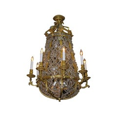 French Gilt Bronze and Crystal Floral Baccarat Chandelier, Circa 1810