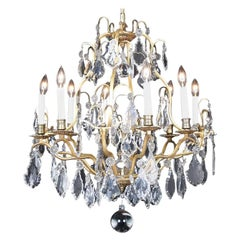 French Gilt Bronze and Crystal Birdcage Chandelier