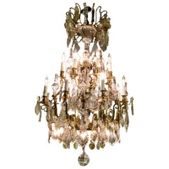 French Gilt Bronze and Crystal Pendologue Chandelier with 28 Lights
