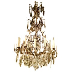 French Gilt Bronze and Crystal Tall Chandelier, 12-Light with Large Pendants