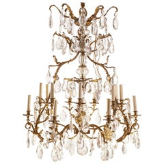 French Gilt Bronze and Cut-Glass, 14-Light Chandelier, 19th Century