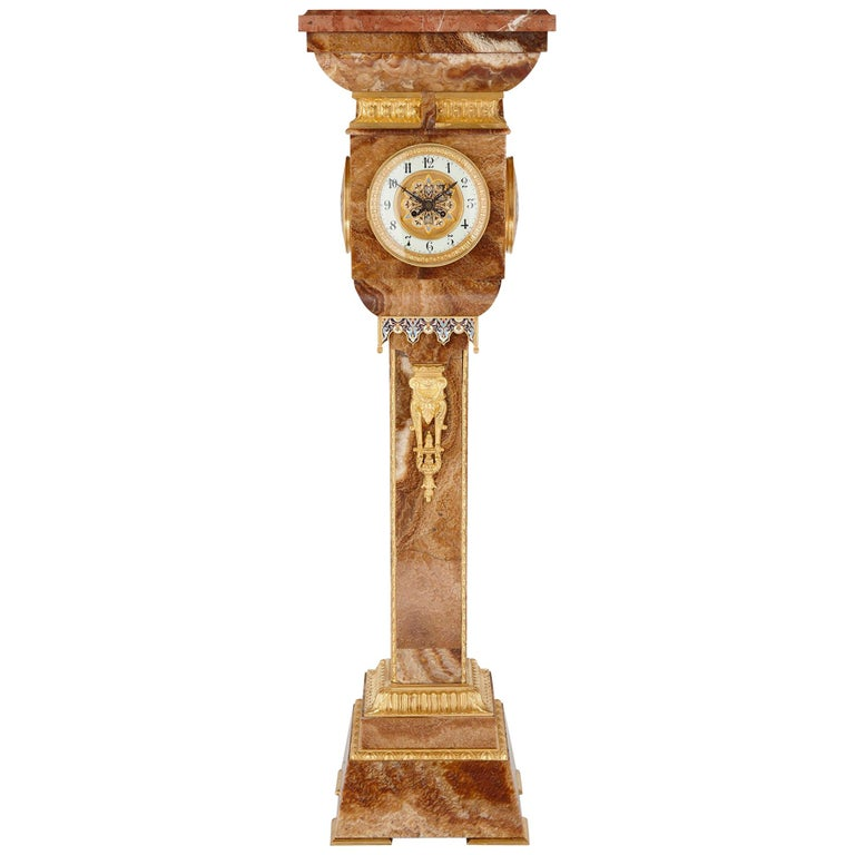 French Gilt Bronze and Enamel Mounted Onyx Standing Clock For Sale