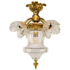 French Gilt Bronze and Glass Five-Light Fixture Hall Lamp