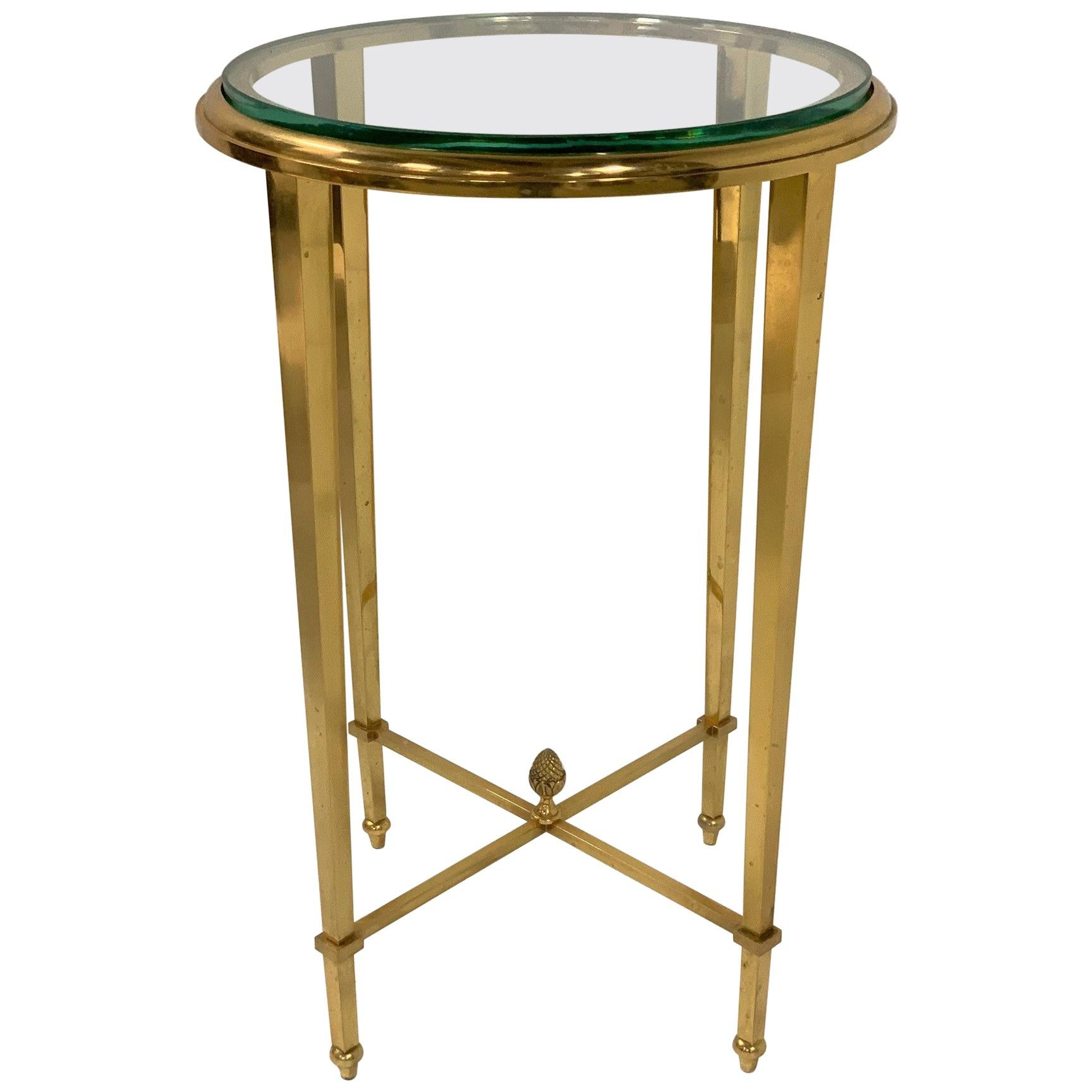 French Gilt Bronze and Glass Guéridon Table