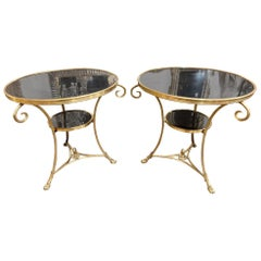 French Gilt Bronze and Granite Gueridon Tables