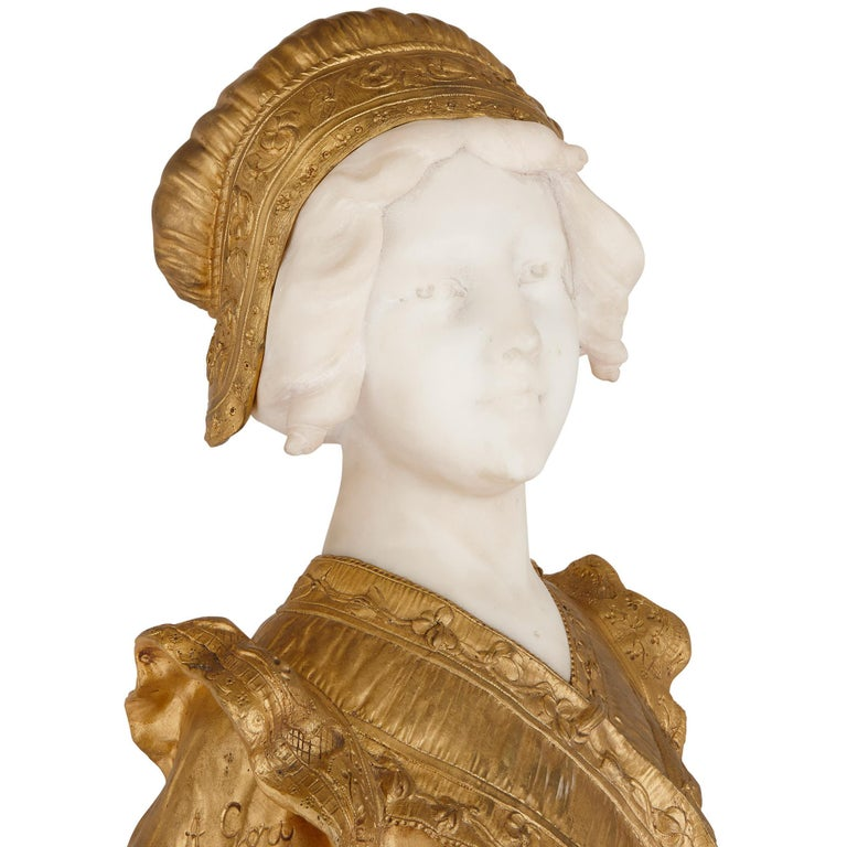 French Gilt Bronze and Marble Bust Sculpture by Gory In Good Condition For Sale In London, GB
