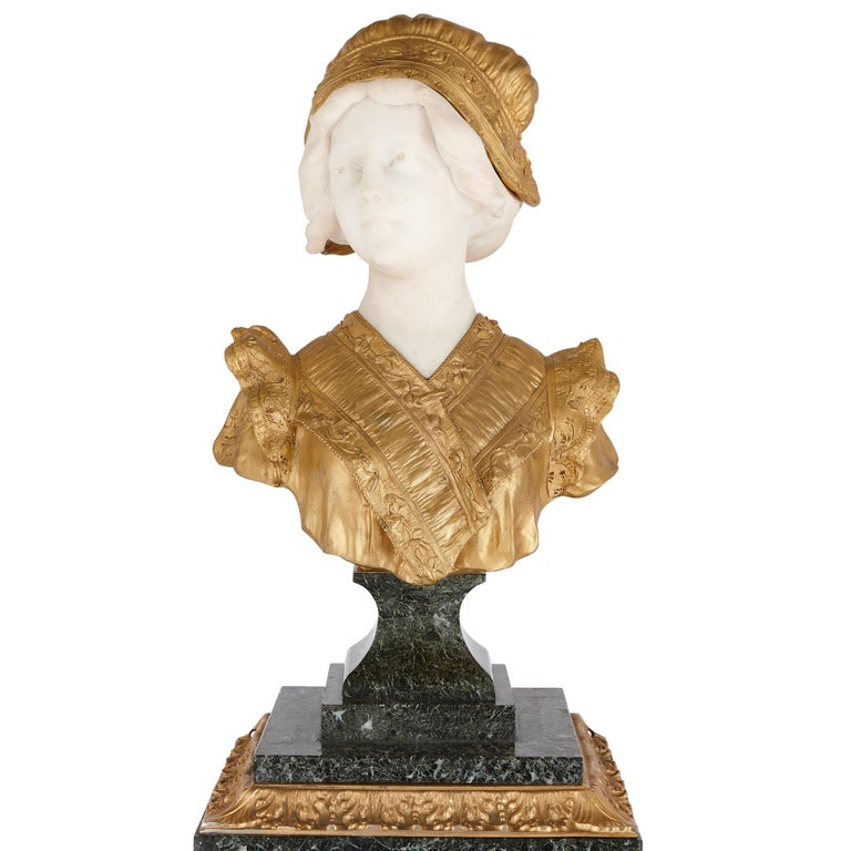 20th Century French Gilt Bronze and Marble Bust Sculpture by Gory For Sale