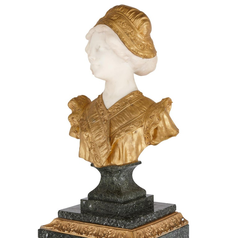 French Gilt Bronze and Marble Bust Sculpture by Gory For Sale 1