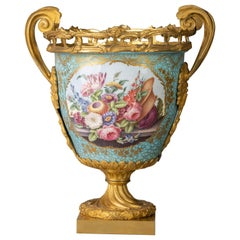 French Gilt Bronze and Porcelain Two-Handled Centerpiece Vase, circa 1875