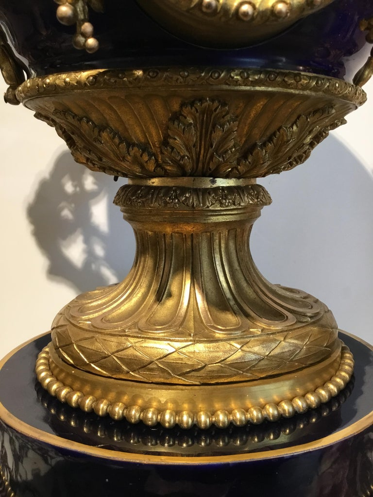 French Gilt Bronze and Porcelain XVI Urn Form Large Clock, circa 1880 For Sale 1
