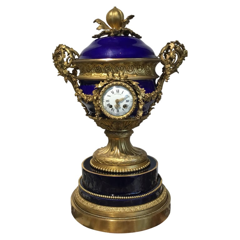 French Gilt Bronze and Porcelain XVI Urn Form Large Clock, circa 1880 For Sale