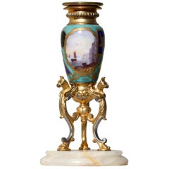 French Gilt-Bronze and Sevrès Style Porcelain-Mounted Candle Stick