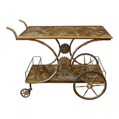 French Gilt-Bronze Bar Cart with Gold Églomisé Tops