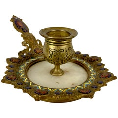 French Champlevé Enamel and Onyx Chamberstick of Gilt Bronze