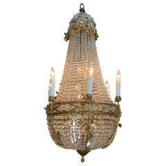 French Gilt Bronze Chandelier with Crystal Beads in Empire Style
