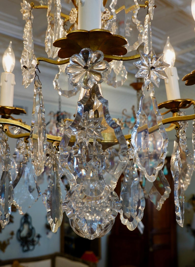 French Gilt-Bronze Chandelier with Exceptional Crystals For Sale 8