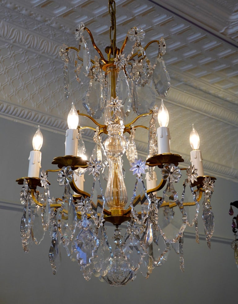 19th Century French Gilt-Bronze Chandelier with Exceptional Crystals For Sale