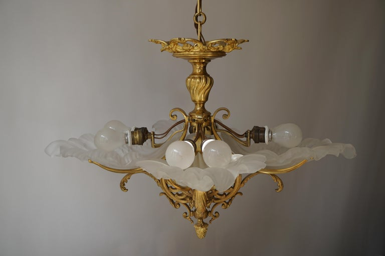 French Gilt Bronze Chandelier with Frosted Glass For Sale 5
